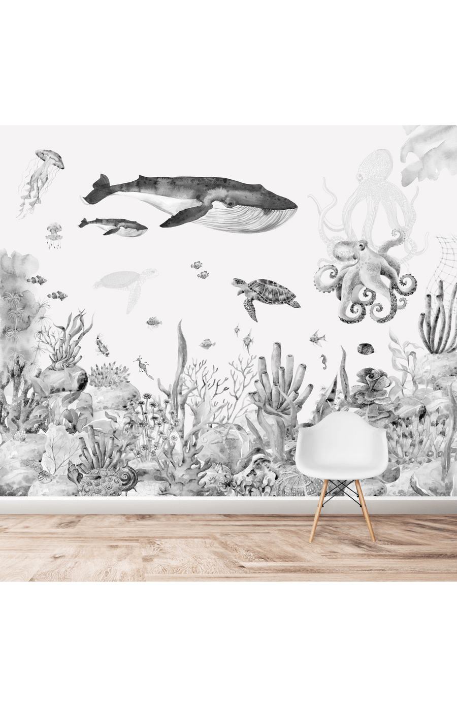 Munks + Me Under The Sea Watercolour Wallpaper Mural - Greys