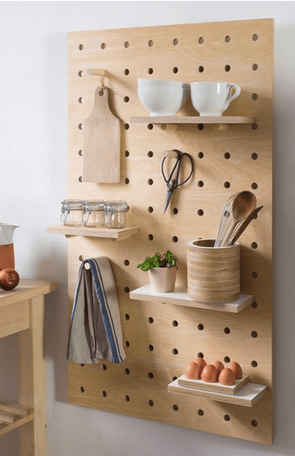 Pegboard With Shelves And Pegs Birch Plywood The