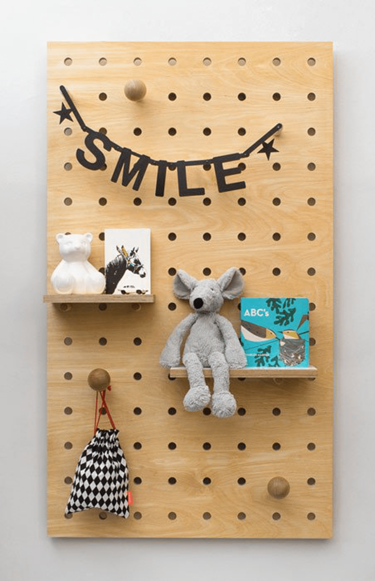 Pegboard with Shelves and Pegs - Birch Plywood - The Modern Nursery