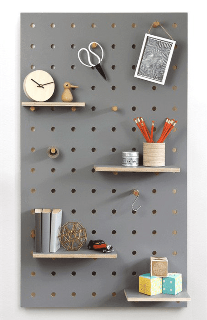 Pegboard with Shelves and Pegs - Grey