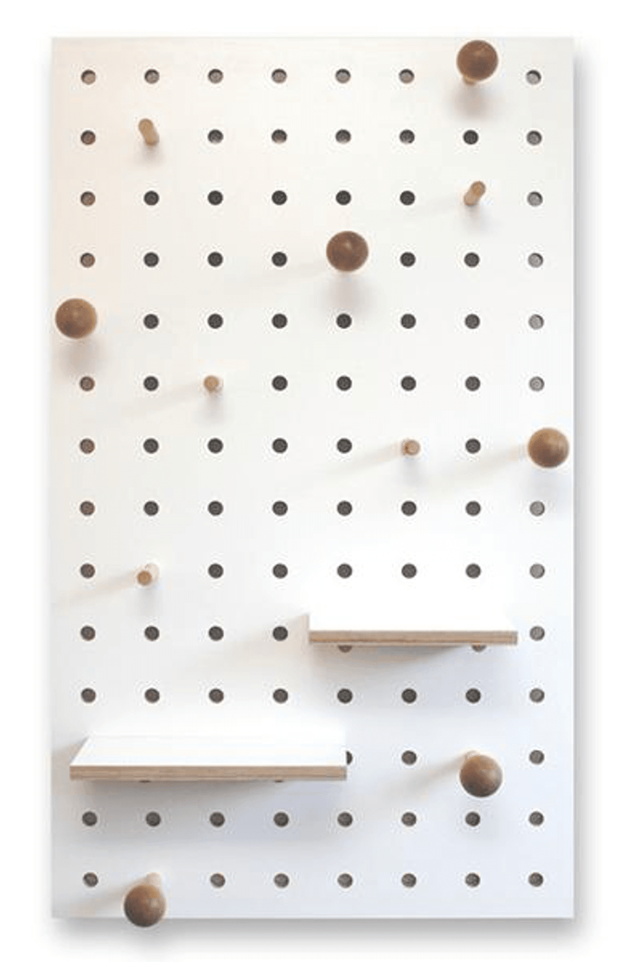 pegboard with shelves and pegs white the modern nursery. Black Bedroom Furniture Sets. Home Design Ideas