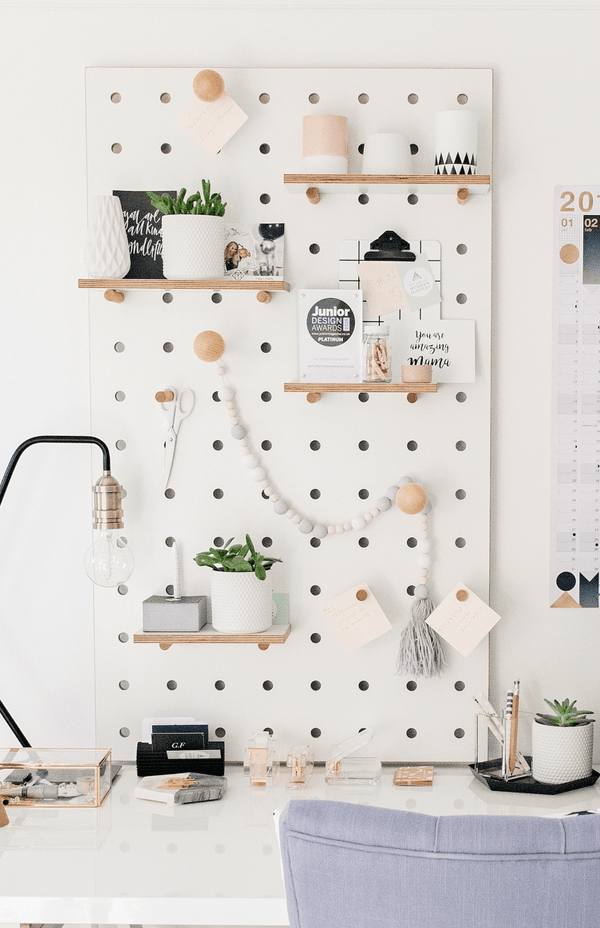 Pegboard With Shelves And Pegs White The Modern Nursery