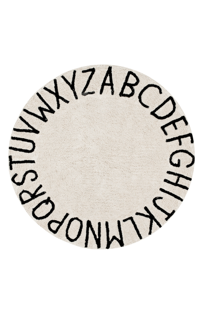 Lorena Canals Washable Rug Round ABC - Natural & Black
