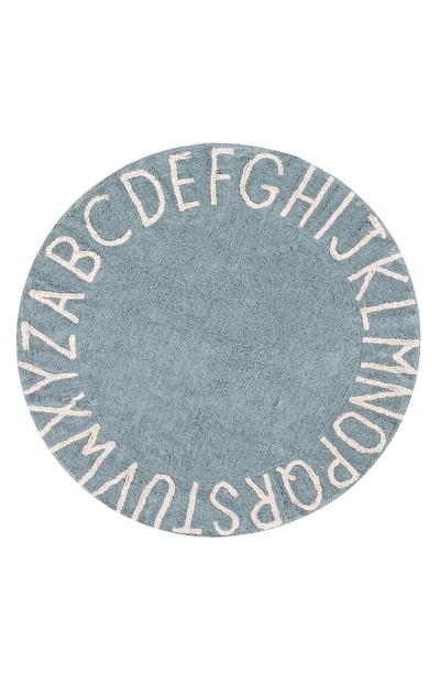 Lorena Canals Washable Rug Round ABC - Vintage Blue