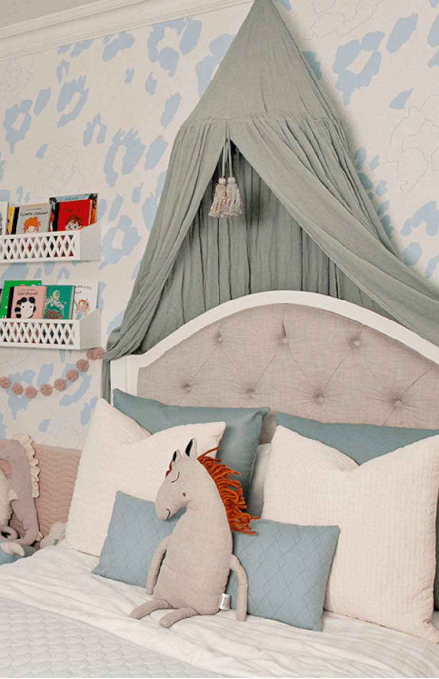 "Exclusive To The Modern Nursery - Munks + Me ""The Nelly"" Wallpaper - Blue Leopard"