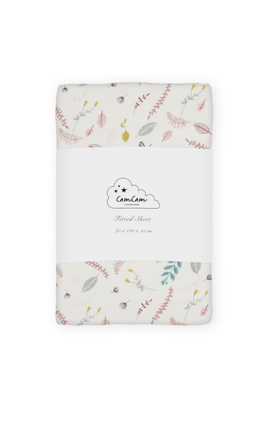 Cam Cam Copenhagen Cot Bed Fitted Sheet - Pressed Leaves Rose