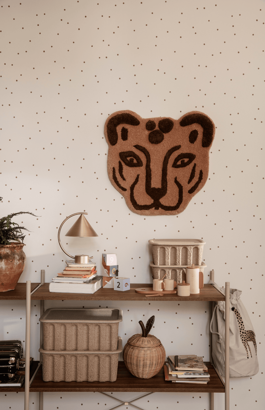 ferm LIVING Leopard Head Tufted Rug - Brown