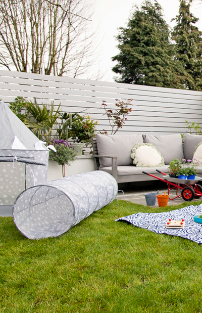 Kids Concept Play Tunnel - Grey Stars