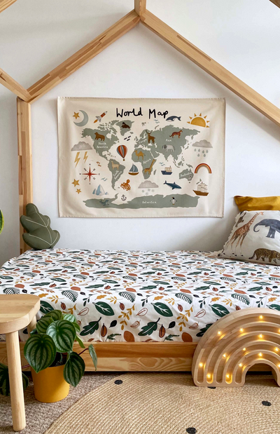 Kid Of The Village World Map Wall Hanging