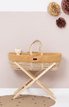The Little Green Sheep Natural Quilted Moses Basket and Mattress - Honey Rice