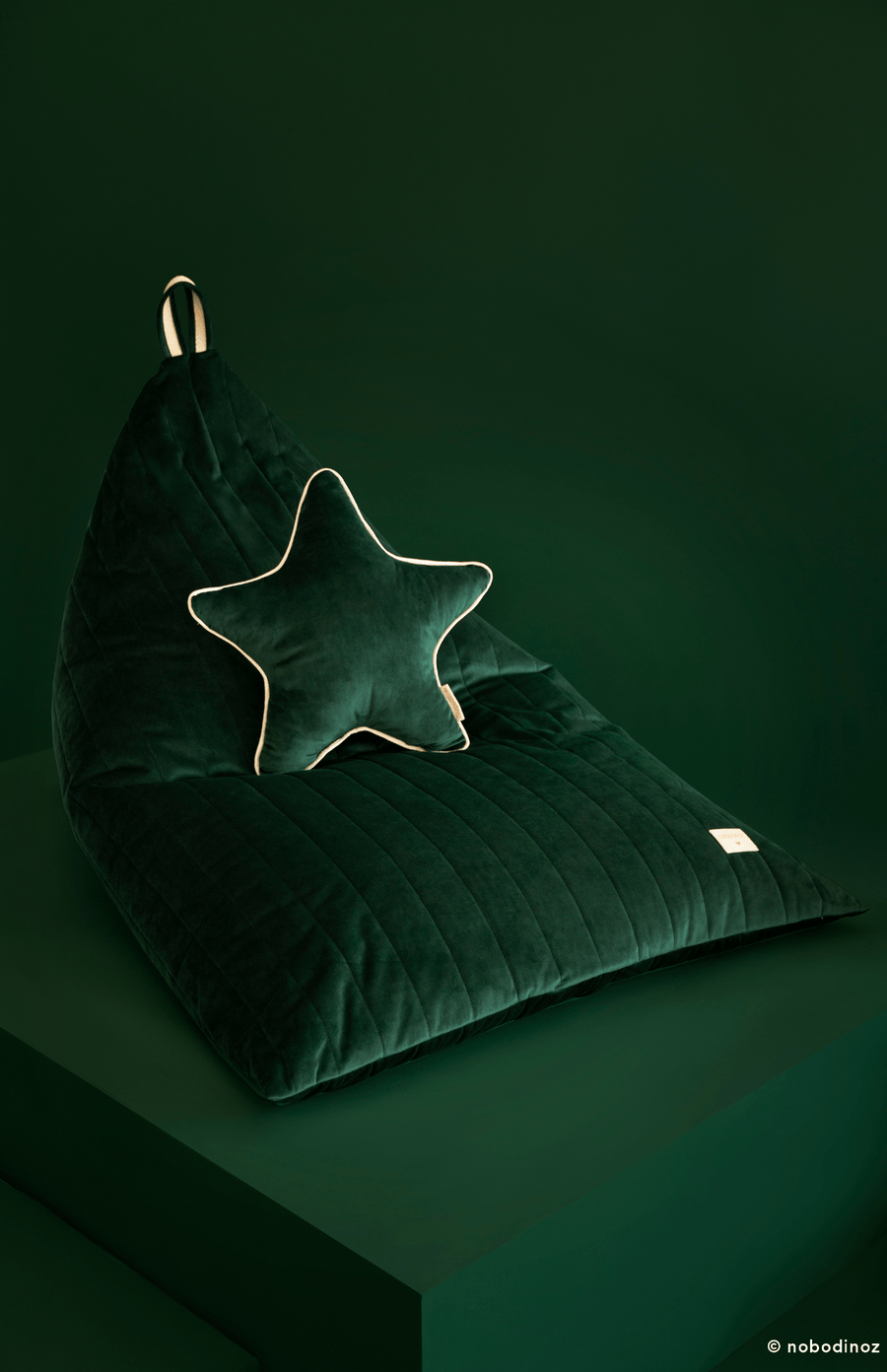Nobodinoz Essaouria Velvet Bean Bag - Jungle Green