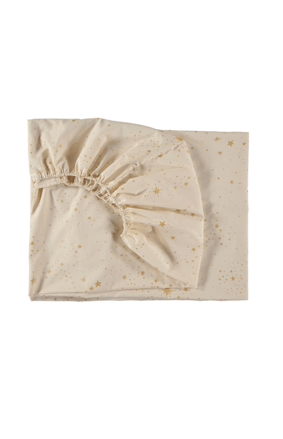 Nobodinoz Tibet Fitted Cot Sheet - Gold Stella Natural