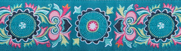 Amy Butler Mantra Turquoise 1-1/2'woven jacquard ribbon