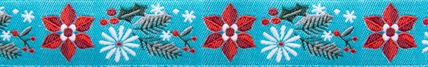Poinsettia turquoise Holiday ribbon