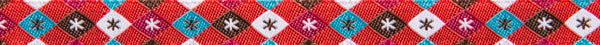 "Argyle and stars on red 3/8"" woven jacquard ribbon"