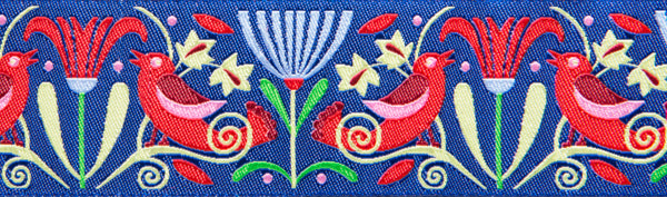 "red art deco birds on indigo 11/2"" woven ribbon"