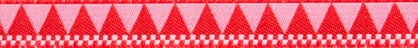 "Red triangles and checkerboard 7/8"" woven jacquard ribbon"