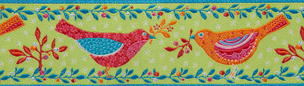 Red and Orange Birds on Green  1-1/2""