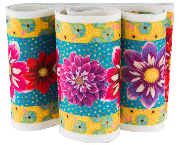 Red, purple and pink Dahlias Turquoise Printed Velvet Border French