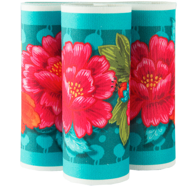 Red Peonies on Turquoise French Printed Wide Velvet border