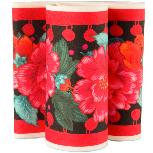 Red Peonies on Black French Printed Wide Velvet border