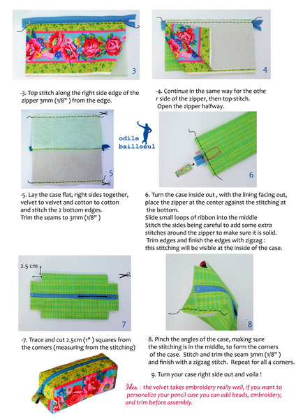 Odile B Free sewing tutorial Zipper easy Pouch