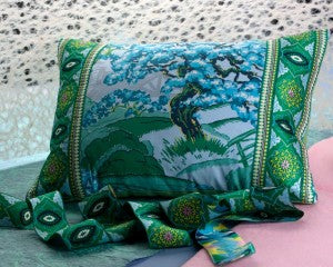 Amy Butler Fabric and Ribbons Tree of Life Pillow detail.