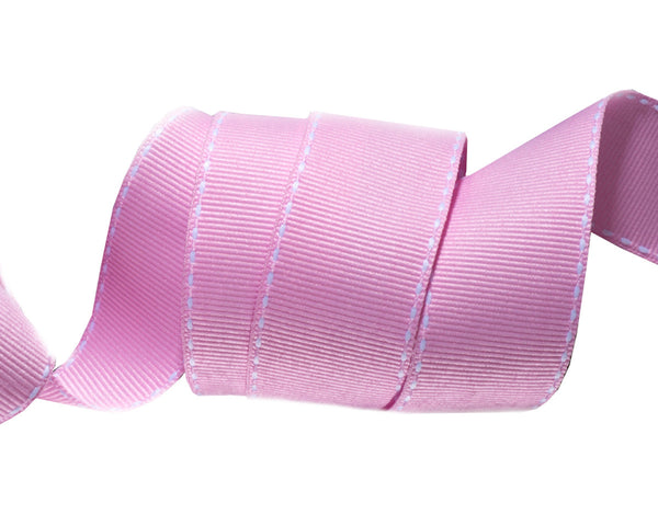 Saddle Stitched Pink Gros Grain 1""