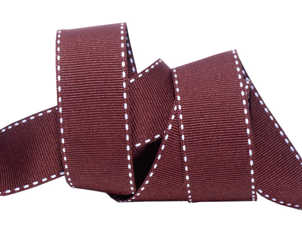 Saddle Stitched brown Gros Grain 1""