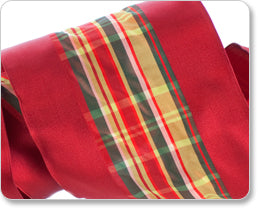 Wide Satin and Plaid French Wired Ribbon-Holiday