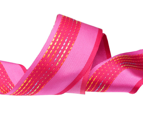 Hot Pink embroidered French ribbon 1 1/2""