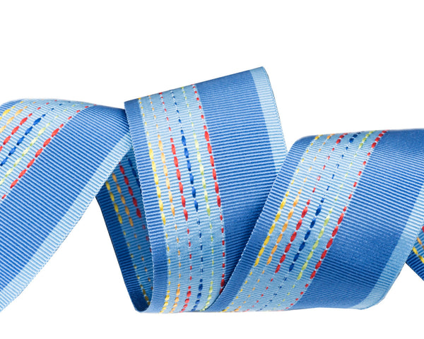 Soft Blue embroidered French ribbon 1 1/2""