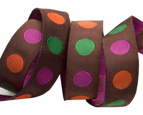 "Polka Dots 5/8"" Fall colors"