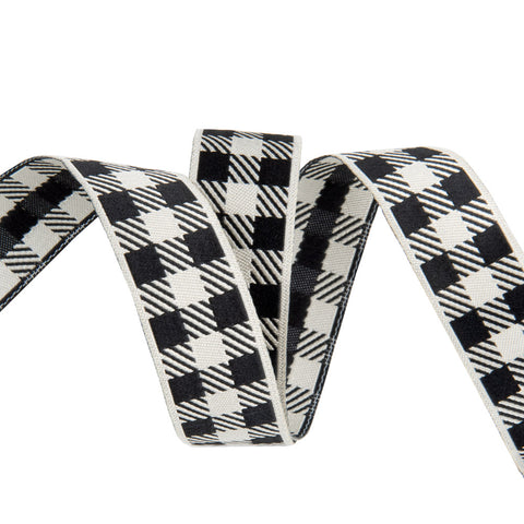 Pre-Order! Gingham Ivory and Black-7/8""