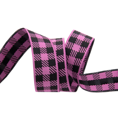Gingham Mauve and Black-7/8""