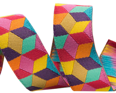 Tumbling Blocks in Yellow and aqua by Kaffe Fassett