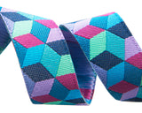 Tumbling Blocks in blue, aqua and violet by Kaffe Fassett