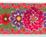 French Printed Velvet border Red, purple and pink Dahlias on Green and orange
