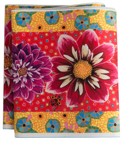 Wide Dahlias on Red & Yellow-Printed Velvet Border