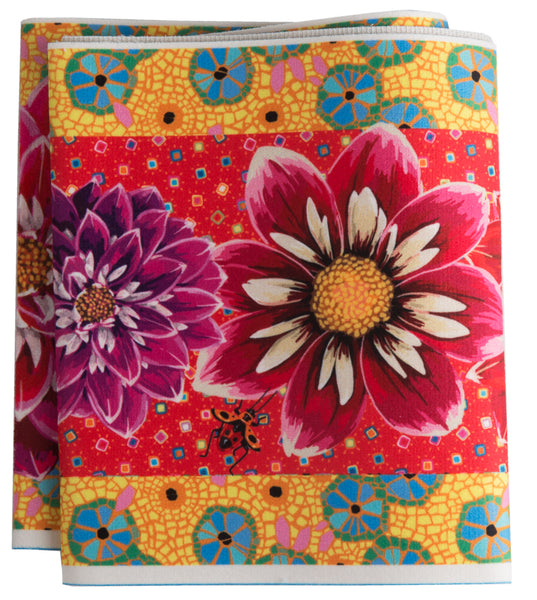 Red Purple & Pink Dahlias on Red & Yellow-Printed Velvet