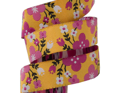"Pink Floral on Yellow-5/8""- Jessica Jones"