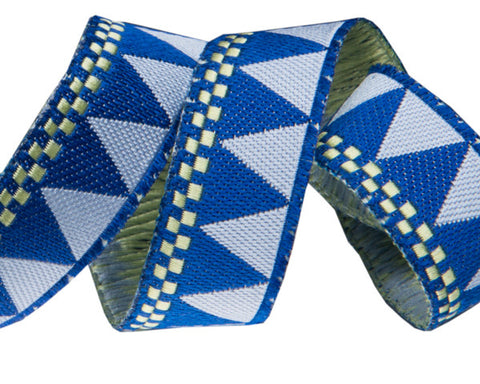 "blue triangles and checkerboard 7/8"" woven jacquard ribbon"