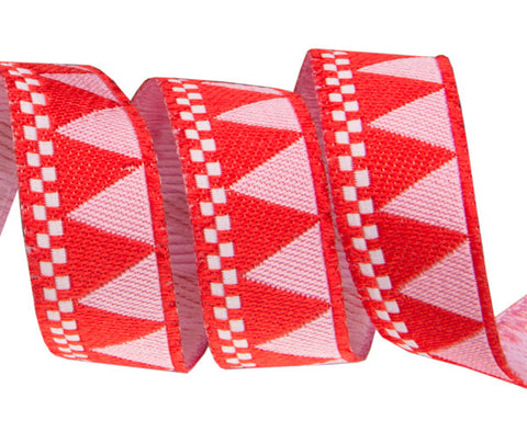 "Red triangles and checkerboard 5/8""  woven jacquard ribbon"