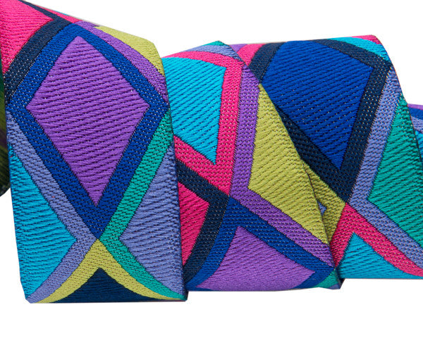 "Big Diamonds in purple/pink/ blue 7/8"" ribbon Kaffe Fassett"