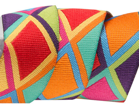 "Big Diamonds in orange, red and yellow 7/8"" ribbon by Kaffe Fassett"