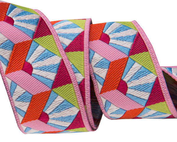 "Fan Box in Pastel blue 7/8"" woven ribbon by Kaffe Fassett"
