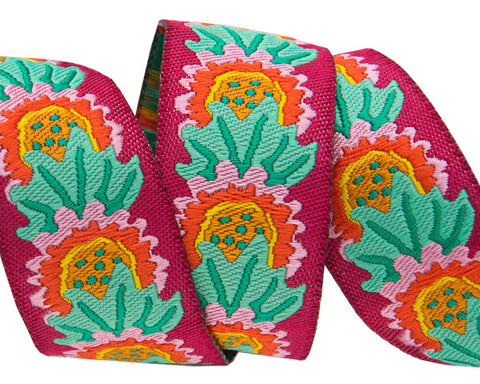 "Daisies on Plum 7/8"" woven ribbon by Kaffe Fassett"