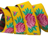 "Spanish Rose on Yellow 3/8"" woven ribbon by Kaffe Fassett"