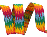 "Bright multicolored zig zag 3/8"" ribbon by Kaffe Fassett"