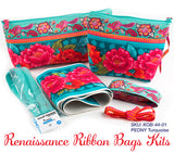 Kit RR bag-Peonies on turquoise- makes 2 bags